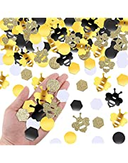 410 Pieces Bee Confetti Gold Glitter Bee Confetti Yellow Black Bee Confetti Circle Confetti Honeycomb Hexagon Confetti for Bee Themed Party Baby Shower Birthday Table Decoration