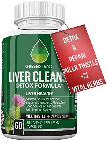 Liver Cleanse Formula - Milk Thistle Extract and 21 Vital Herbs for Liver Detox & Repair - Beet, Artichoke, Dandelion, Chicory & Burdock Root, Turmeric, Ginger, Celery Seed & More