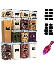 KITment 15PCS Airtight Food Storage Containers with Lids Airtight Cereal Dry Food Storage Canisters Kitchen Pantry Storage Organization for Sugar, Flour, Snack, BPA Free