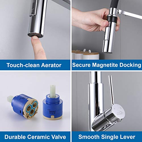 Single Handle Kitchen Faucet with Pull Down Sprayer and Magnetic Docking SprayHead Lead-Free High Arc Kitchen Sink faucets Polished Chrome Modern Faucets for Kitchen Sinks with Pull Out Sprayer
