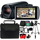 Canon VIXIA HF R800 Camcorder (Black) + External Microphone + LED Video Light Bundle - 1960C002