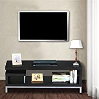Topeakmart Black Wood Open Design Media Console TV Stand Home Entertainment Center with Steel Legs for 45 Flat Screen TV
