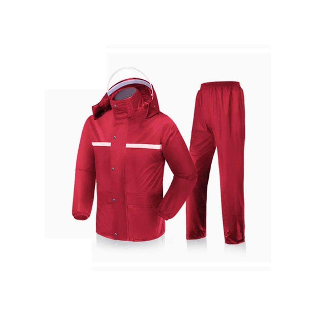 rouge X-grand HBWJSH Imperméable Double Couche imperméable Pluie Chaude Pluie Pantalon Coupe-Vent imperméable imperméable portable (Noir Rouge Marine) (Couleur   Noir, Taille   XXXXL)