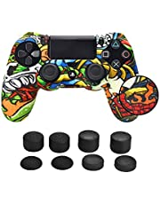 PS4 Controller Grip Skin, PS4 Controller Silicone Skin Cover for PS4 /PS4 Slim /PS4 PRO Controller(Personalized Studded Anti-Slip DualShock 4 Controller Skin x 1 + FPS PRO Thumb Grips x 8)