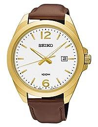 SEIKO SUR216P1,Men's Date,Stainless Steel Case,Leather Strap,Hardlex Crystal,100m WR,SUR216