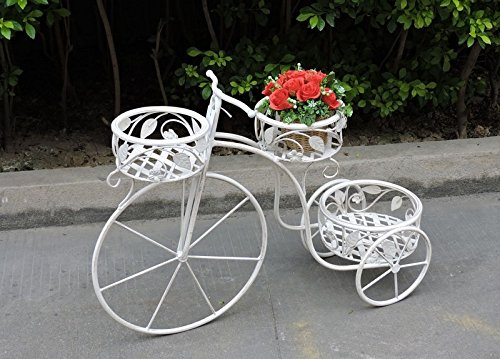 ordina ora con grande sconto e consegna gratuita Bicicletta portafiori 3 vani decorativa in ferro bianco bianco bianco 76X24x54cm  distribuzione globale