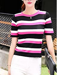 GS~LY Women's Going out Street chic Regular Pullover,Striped Blue / Pink / Black / Green Round Neck Short Sleeve Cotton Spring , fuchsia , one-size