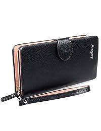 Gottowin Women's PU Leather Pastel Color Purse Handbag Zipper Wallet Clutch Organizer Wristlet Card Holder