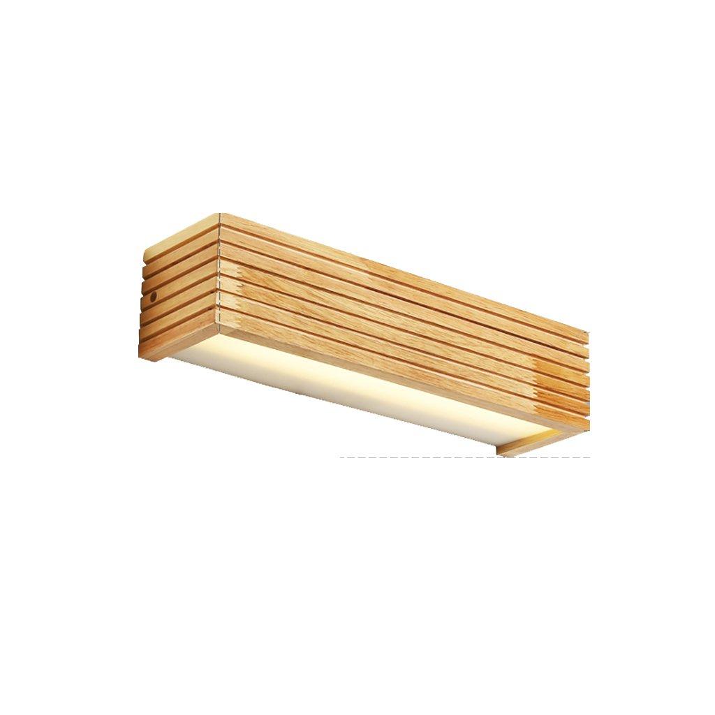 Hyzb Spiegel Licht Nordic LED Massivholz Wand Treppe Gang Badezimmer Spiegel Scheinwerfer Schlafzimmer Nachttischlampe Wand Japanische Lampen (Farbe   B-warm Light, Größe   45cm)