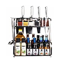 GOLDHIK Double Kitchen cabinets Spice Rack Wall-mounted Stainless Steel Kitchen Shelf Seasoning Cupboard Storage Organizer Free Standing (30cm)