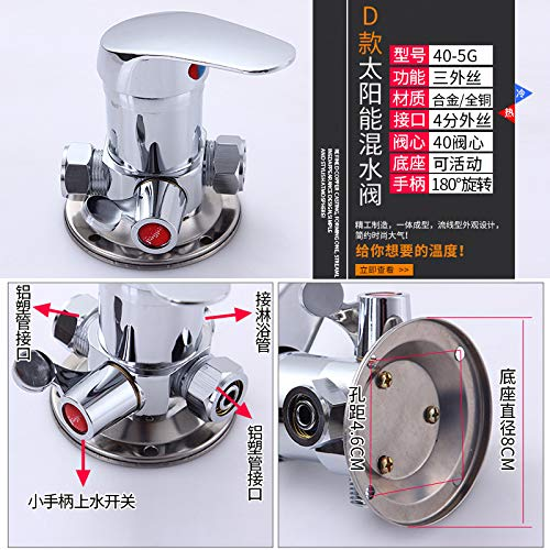 P redOOY Shower faucet water separator shower shower faucet wall-mounted faucet solar mixing valve mounted, E copper body active base mixing valve