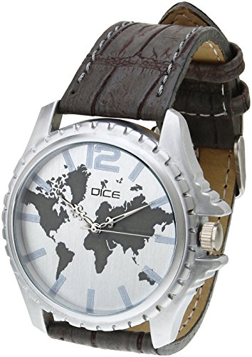 """Dice """"Explorer S-2613"""" Casual Round Shaped Wrist Watch For Men with Beautiful White Color Dial Fitted with Anti-Allergic Leather Strap."""
