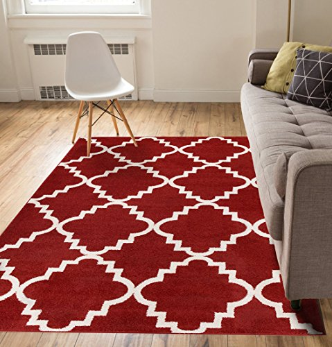 Harbor Trellis Red Quatrefoil Geometric Modern Casual Area Rug 5×7 ( 5'3 x 7'3 ) Easy to Clean Stain / Fade Resistant Shed Free Contemporary Traditi…