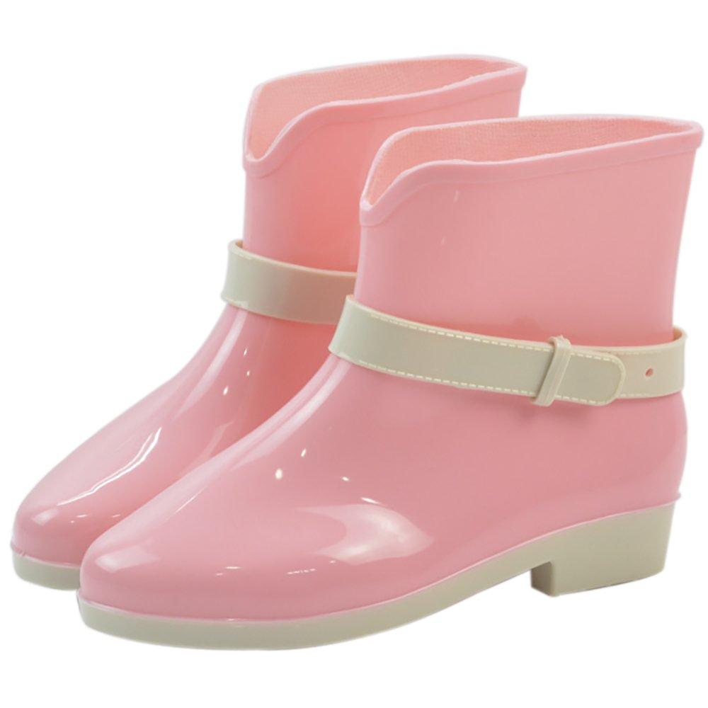 Women's Waterproof Rubber Jelly Anti-Slip Rain Boot Buckle Ankle High Rain Shoes B01J7EXNOE 7.5 B(M) US|Pink