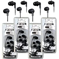 Panasonic RP-HJE120 ErgoFit In-Ear Headphones Stereo Earbuds (4-Pack, Black)