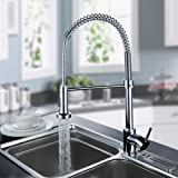 Ouku Deck Mount Contemporary Spring Kitchen Sink Faucet Chrome Finish Tall Curve Spout Bar Faucets Single Hole Kitchen Basin Faucets with Pull Out Led Sprayer 360 Degree Rotatable Swivel Mixer Taps Pull Down Spray Ceramic Valve Plumbing Fixtures