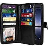 NEXTKIN Zmax Pro Carry Z981 Case, Leather Dual Wallet Folio TPU Cover, 2 Large Pockets Double flap Privacy, Multi Card Slots Snap Button Strap For ZTE Zmax Pro Carry Z981 - Black