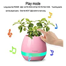 ETI Bluetooth Speaker Touch Sensitive Piano Music Planter with LED Multi-color Night light&Rechargeable Wireless Pink(without plants)