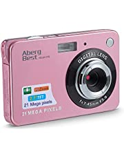 "AbergBest 21 Mega Pixels 2.7"" LCD Rechargeable HD Digital Camera Video Camera Digital Students Cameras,Indoor Outdoor for Adult/Seniors/Kid (Rose Gold) photo"