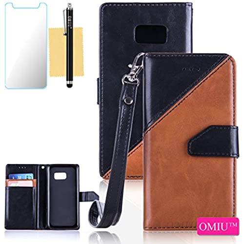 Galaxy S7 Case,S7 Case,OMIU(TM) Premium PU Leather Stitching Fabric Patterns Design Card Slots Stand Wallet Case for Samsung Galaxy S7-(Black+Brown) Sales
