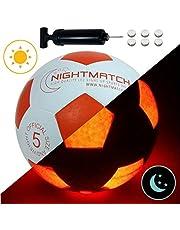 NIGHTMATCH Led-verlichte voetbal - officiële maat 5 - complete set - 2 sensoren geactiveerde leds voor plezier in het donker - ideaal voor klein en groot - lichtvoetbal voor kinderen, voetbal