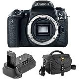 Canon EOS 77D DSLR Camera (Body Only) Vello BG-C15 Battery Grip Journey 34 DSLR Shoulder Bag (Black)