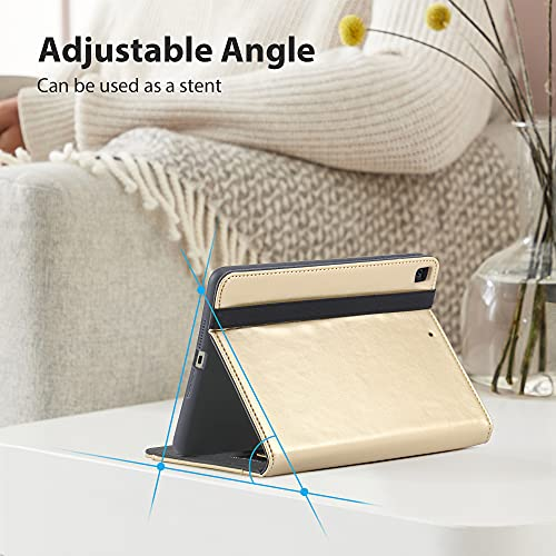 Gshine Case for iPad 6th Generation, iPad 9.7 Case 2018/2017, Full-Body Protective Rugged Shockproof Case with Built-in Handstrap& Apple Pencil Holder,Auto Sleep/Wake -Gold