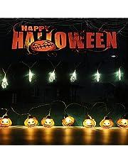 2 Pcs Halloween-pompoen LED-lichtslingers 4m 20 LED Halloween Decor Lichtslingers Batterij Aangedreven String Fairy Lights Ideaal voor Halloween Party pompoen Geest hand