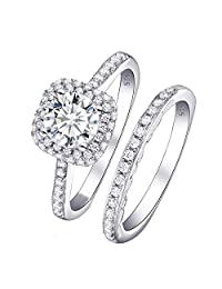 Newshe Wedding Engagement Ring Set for Women AAA Cz 1.6ct Round 925 Sterling Silver Size 5-10