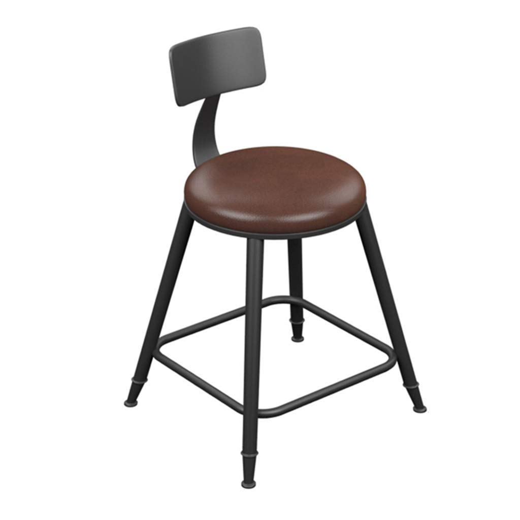 Leather pad 45cm DingHome-ca Barstools - Wrought Iron Wood Counter Stool Bar Stool Seat and Backrest, Modern Industrial Retro