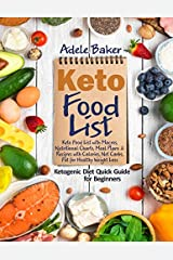 Keto Food List: Ketogenic Diet Quick Guide for Beginners: Keto Food List with Macros Nutritional Charts Meal Plans & Recipes with Calories Net Carbs Fat for Healthy Weight Loss Paperback