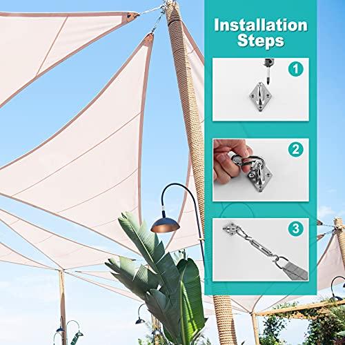 TAOPE Sonnensegel Befestigung, M5 Sonnensegel Zubehör, Hängematten Deckenhaken Hängesessel Hochwertig Edelstahl Montage Aufbau Set zur sicheren Montage von Quadrat und Dreieckigen Sonnensegel