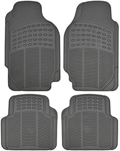 All Weather Gray Rubber Car Floor Mats SemiCut Front & Rear – Heavy Duty 4 Piece Set