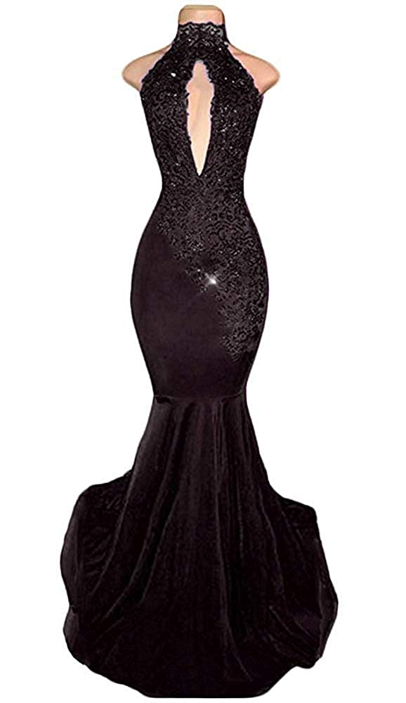Black XKYU Women's High Neck Lace Appliques Prom Dresses Long Halter Mermaid Sexy Evening Gowns