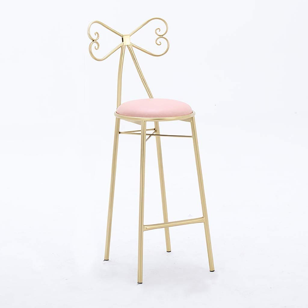 Pink 65CM Bar Stool, Restaurant High Stool, Iron Lounge Chair, Counter Chair, Sponge Pad White Pink Makeup Chair Suitable for Bar Counter Modern Bar Stool Home Stool Office Chair Decoration Stool