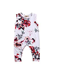 Infant Baby Girls Summer Clothes Sleeveless Floral Romper Cotton Jumpsuit Outfits