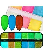 Ksruee 12 Small Boxes/Set Nail Art Glitter Powder,Dust UV Gel Acrylic Powder,Christmas Nails Tips