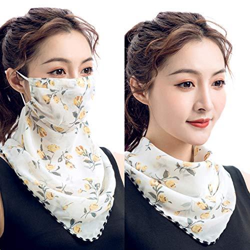 Outdoor Women\'s Sun Protection Anti-Dust Bandanas Cycling Chiffon Face Cover Multifunctional Scarf Mask (Yellow)