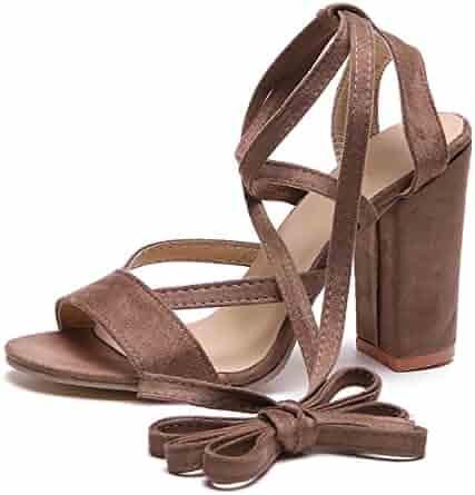2af7904de00 Susanny Chunky Block Heeled Sandals Women s Ankle Strap High Heels Open Toe  Pumps Shoes