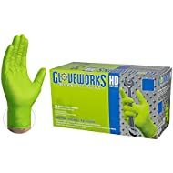 GLOVEWORKS HD Industrial Green Nitrile Gloves - 8 mil, Latex Free, Powder Free, Diamond Texture, Disposable, Heavy Duty, XXLarge, GWGN49100-BX, Box of 100