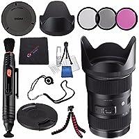 Sigma 18-35mm f/1.8 DC HSM Art Lens for Canon #210101 + 72mm 3 Piece Filter Kit + Lens Pen Cleaner + Microfiber Cleaning Cloth + Flexible Tripod Bundle (International Model No Warranty)