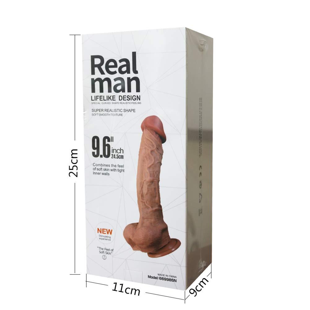JJYY Dildo diseño Ultra Realista de 9,64 Pulgadas (24,5 cm) con diseño Dildo de Doble Densidad para una sensación Real para Principiantes, Polla de Silicona con Ventosa para Juego Anal Vaginal a Mano alzada 1ee2a4
