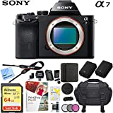 Sony a7 Full-Frame Alpha Mirrorless Digital Camera 24MP (Black) Body Only ILCE-7/B with Extra Battery Case 64GB Memory Card Deluxe Pro Bundle (Body Only Utility Bundle)