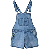 Zousen Women's Juniors Girl Adjustable Shortalls Denim Overall Shorts
