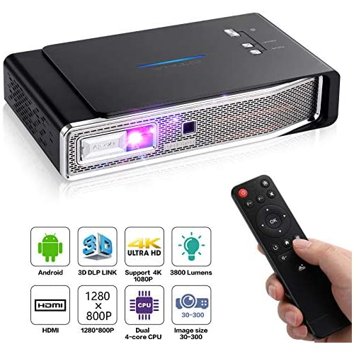 chollos oferta descuentos barato OTHA 4K Proyector Mini Proyector V5 Proyector Portátil 3800 Lumens 1280x800 3D DLP Link Proyector Android Soporte USB IR 4K HDMI AV 4K Proyector con Sonido Dolby para Cine en casa 16G