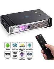 OTHA 4K Proyector, Mini Proyector V5, Proyector Portátil, 3800 Lumens, 1280x800, 3D DLP-Link, Proyector LED Android, Soporte USB/IR / 4K / HDMI/AV, 4K Proyector con Sonido Dolby para Cine en casa, 16G