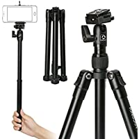 ASHOW Tripod Camera Lightweight Aluminum with Quick Release Plate Ball Head for Canon Nikon Sony Fuji DSLR Camera and Mobile Phone Tripod