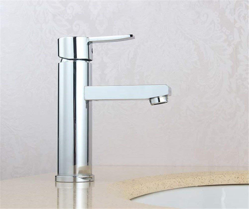 DOJOF Bathroom Sink Mixer Tap Single Lever Brass Hot and Cold Water Brass Taps for Bathroom Sink