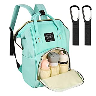 Auxsoul Baby Diaper Bag Backpack, Baby Care Bag with Stroller Straps + Waterproof Baby Stuff Travel Backpack with Insulated Pockets and Large Maternity Baby Bags(Lightgreen)