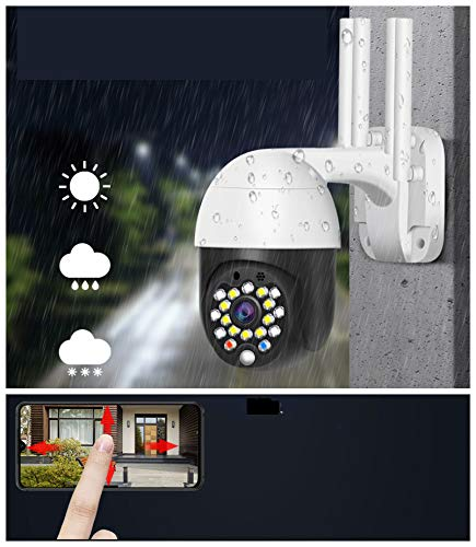 EsiCam Waterproof WiFi Speed Small Dome Surveillance Camera Outdoor PTZ Wireless IP Camera with iOS & Android APP 5X Zoom Pan Tilt(320 degree/90 Degree) (1.5